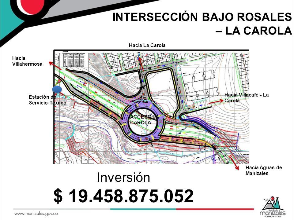 $ 19.458.875.052 Inversión INTERSECCIÓN BAJO ROSALES – LA CAROLA