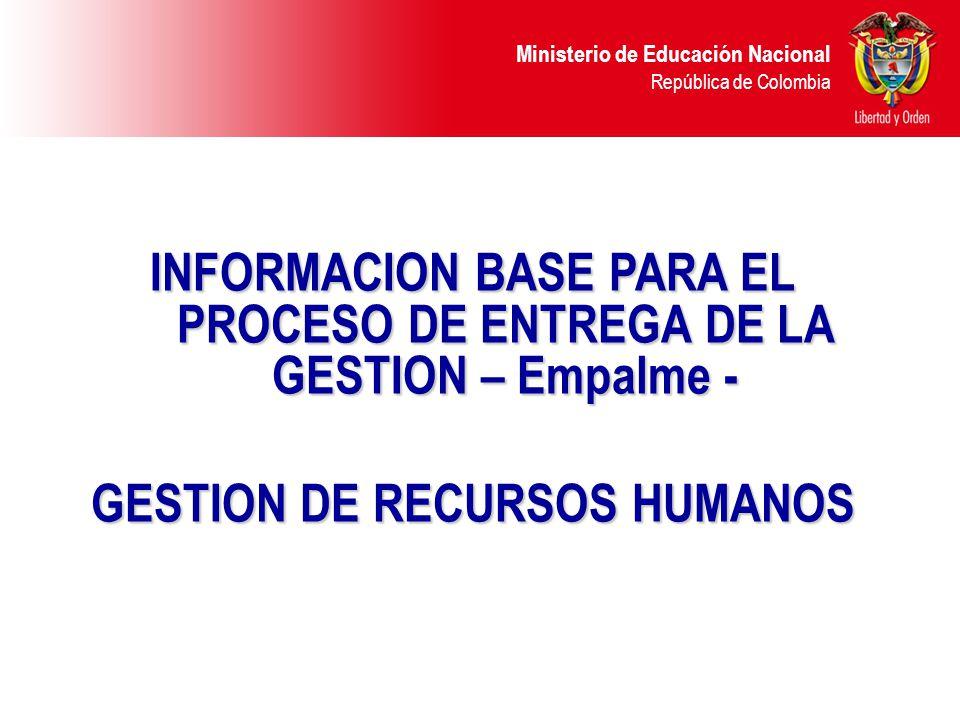INFORMACION BASE PARA EL PROCESO DE ENTREGA DE LA GESTION – Empalme -