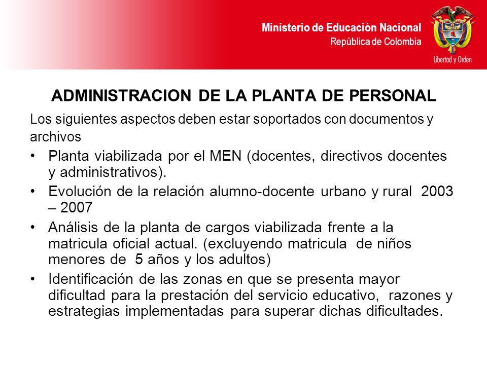 ADMINISTRACION DE LA PLANTA DE PERSONAL