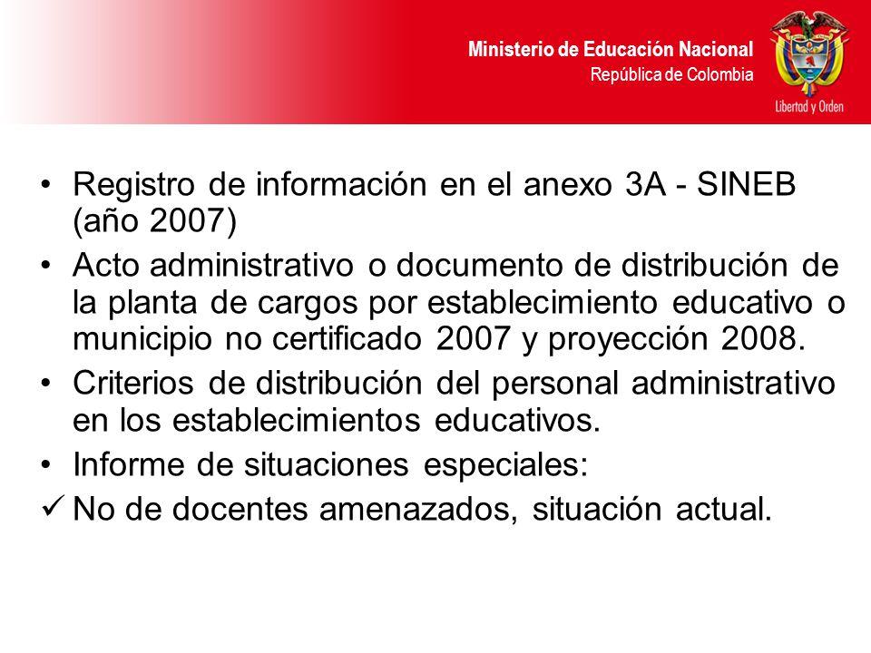Registro de información en el anexo 3A - SINEB (año 2007)