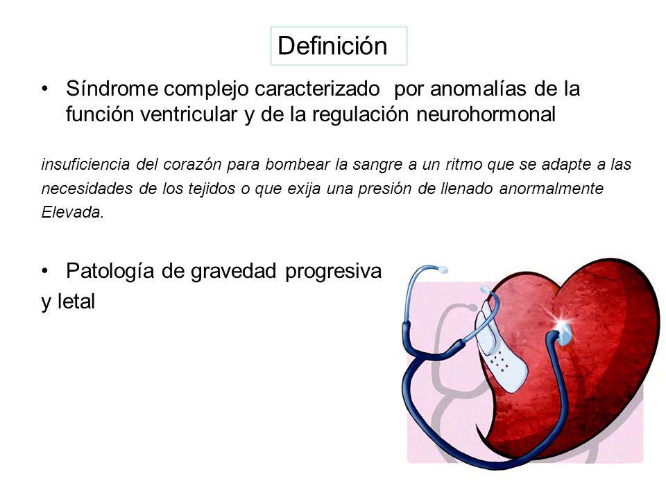 Definición Síndrome complejo caracterizado por anomalías de la función ventricular y de la regulación neurohormonal.