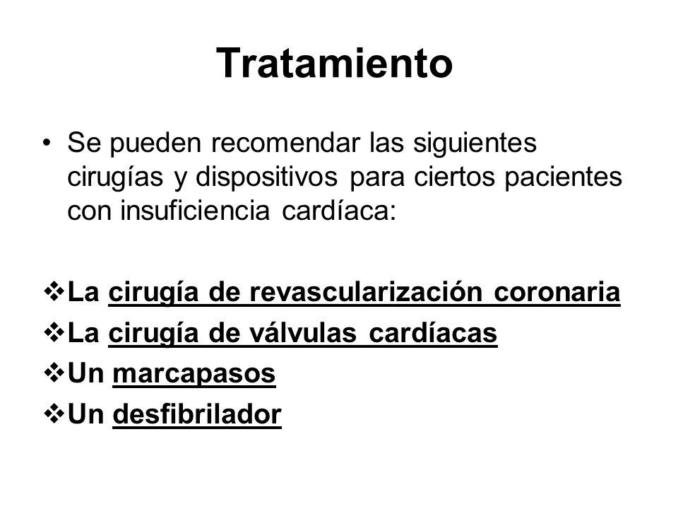 TratamientoSe pueden recomendar las siguientes cirugías y dispositivos para ciertos pacientes con insuficiencia cardíaca: