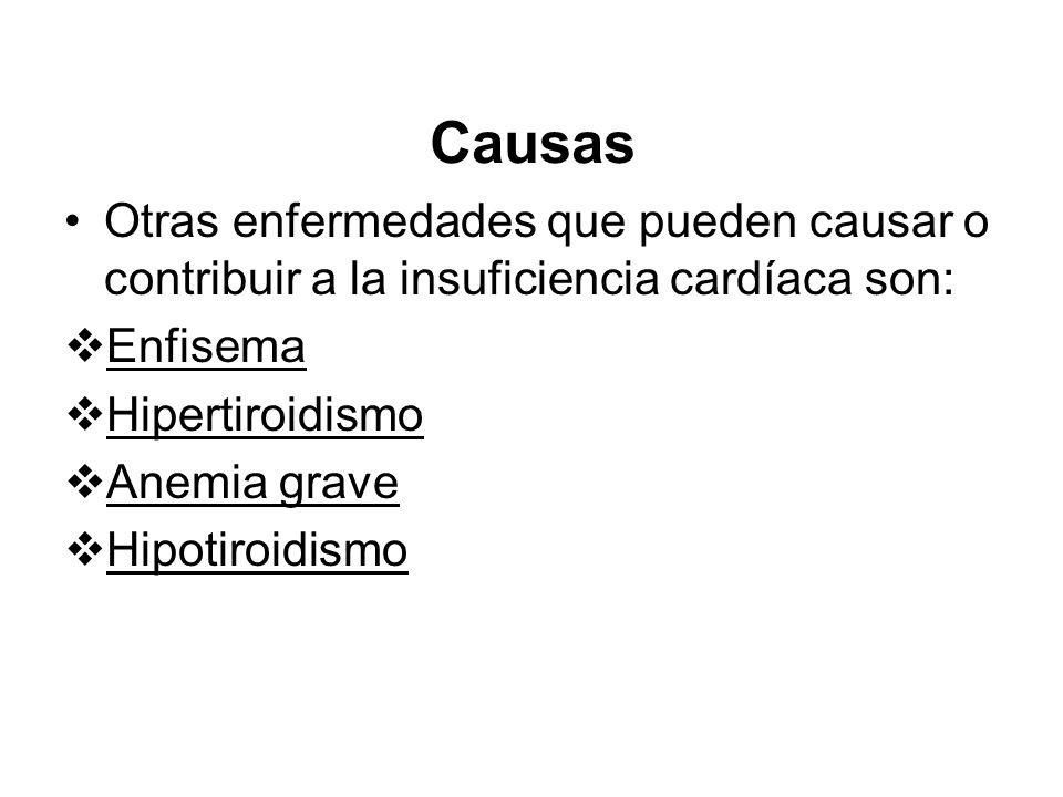 CausasOtras enfermedades que pueden causar o contribuir a la insuficiencia cardíaca son: Enfisema. Hipertiroidismo.