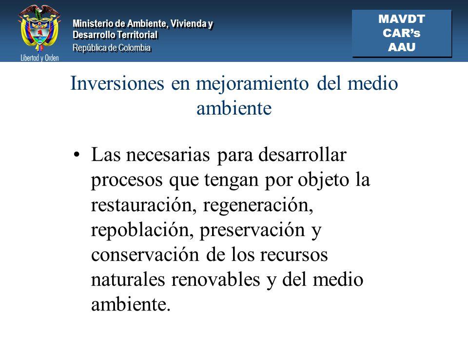 Inversiones en mejoramiento del medio ambiente