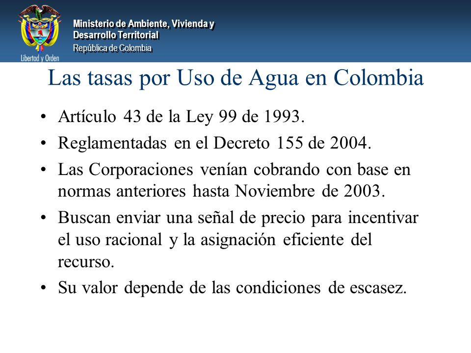 Las tasas por Uso de Agua en Colombia