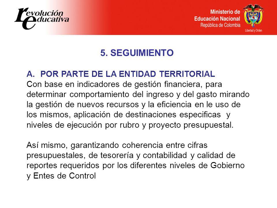 5. SEGUIMIENTO POR PARTE DE LA ENTIDAD TERRITORIAL
