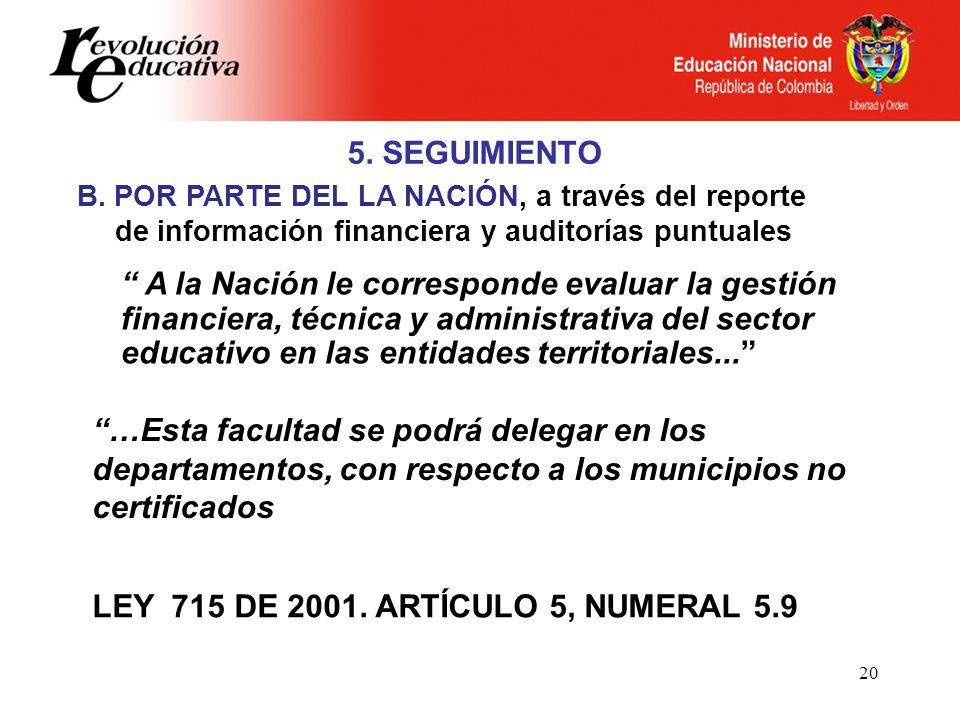 LEY 715 DE 2001. ARTÍCULO 5, NUMERAL 5.9