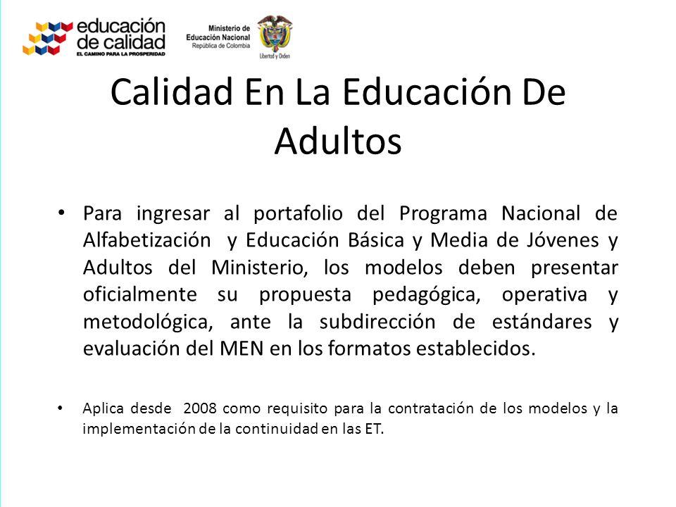 Calidad En La Educación De Adultos
