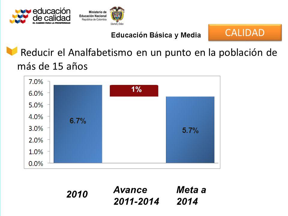 Reducir el Analfabetismo en un punto en la población de más de 15 años