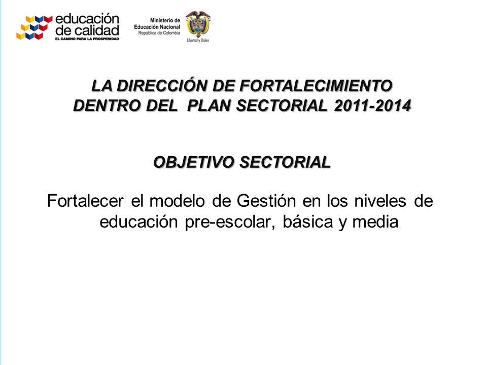LA DIRECCIÓN DE FORTALECIMIENTO DENTRO DEL PLAN SECTORIAL 2011-2014