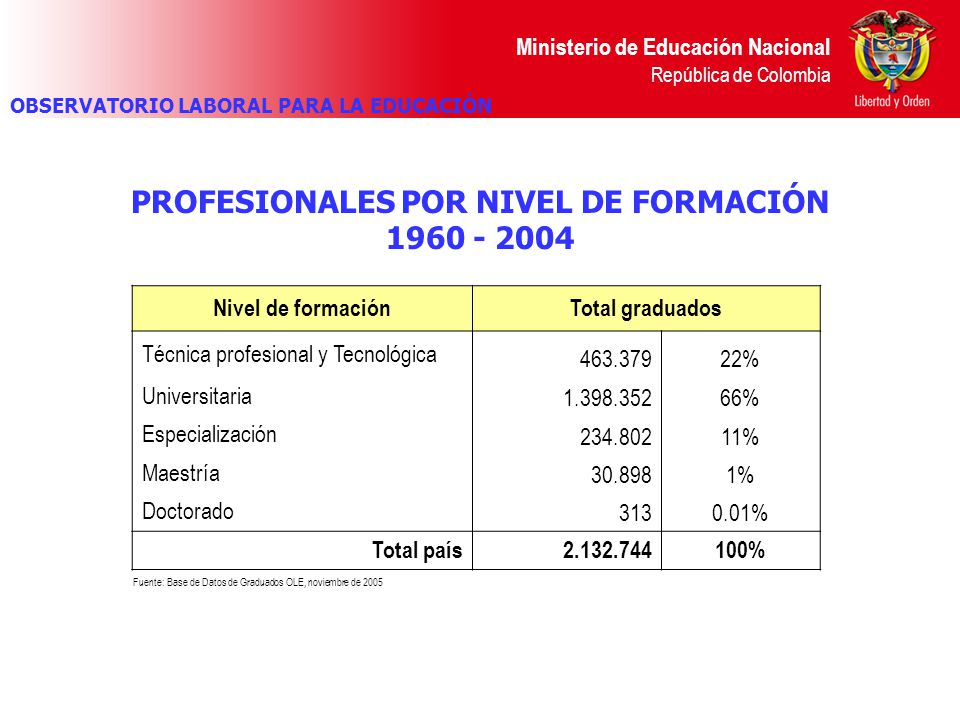 PROFESIONALES POR NIVEL DE FORMACIÓN