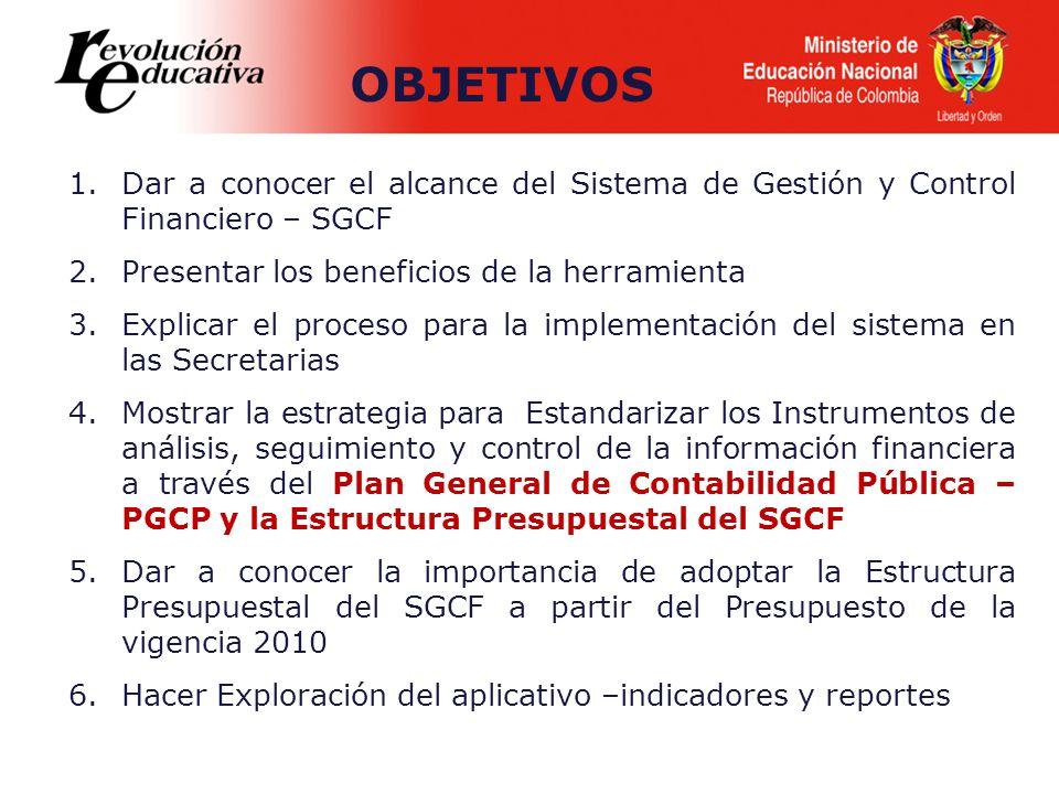 OBJETIVOS Dar a conocer el alcance del Sistema de Gestión y Control Financiero – SGCF. Presentar los beneficios de la herramienta.