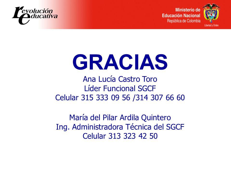 GRACIAS Ana Lucía Castro Toro Líder Funcional SGCF