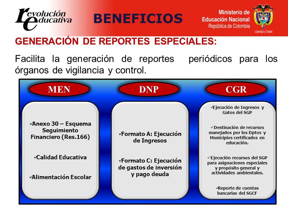 BENEFICIOS GENERACIÓN DE REPORTES ESPECIALES: