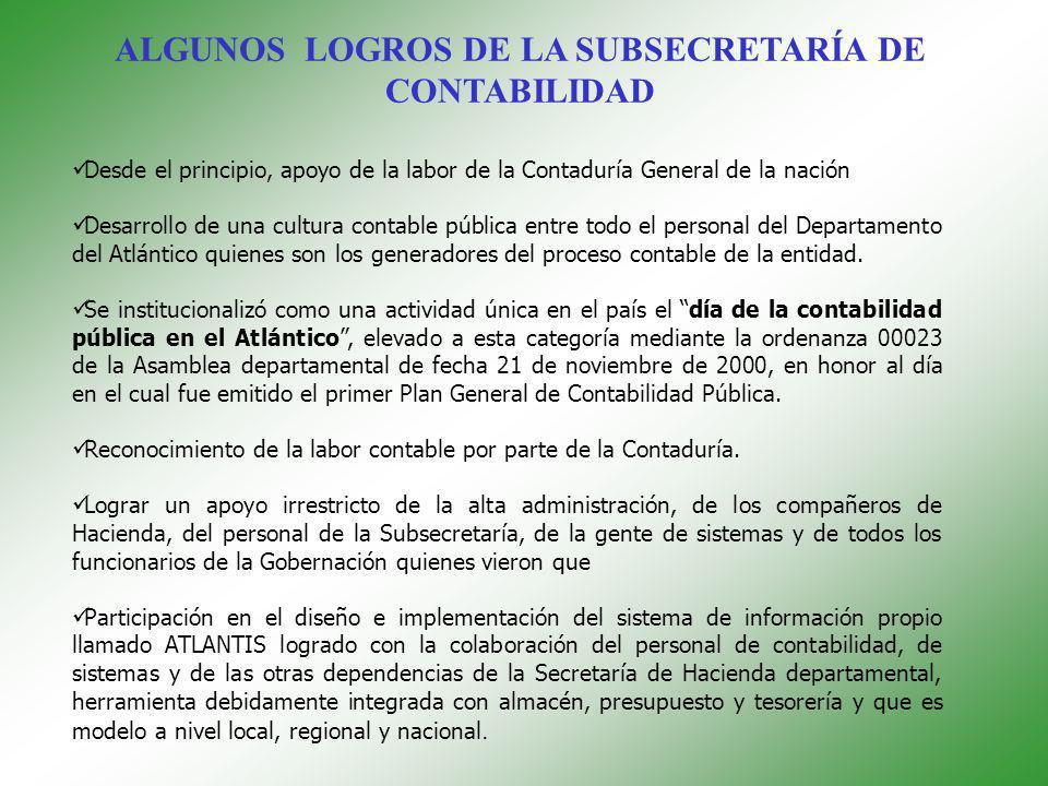 ALGUNOS LOGROS DE LA SUBSECRETARÍA DE CONTABILIDAD