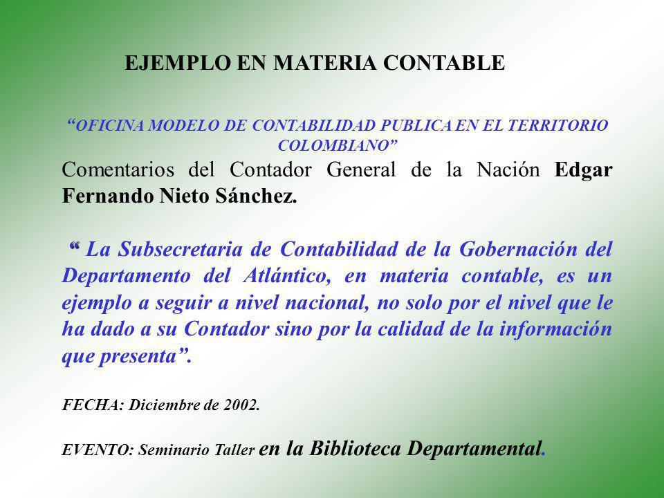 OFICINA MODELO DE CONTABILIDAD PUBLICA EN EL TERRITORIO COLOMBIANO