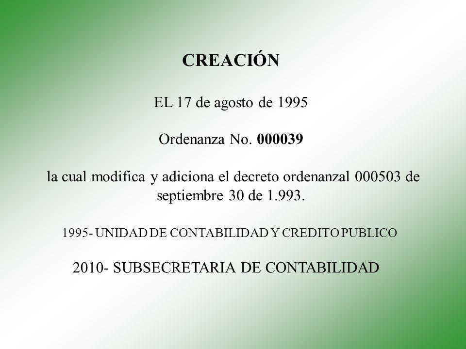 CREACIÓN EL 17 de agosto de 1995 Ordenanza No. 000039