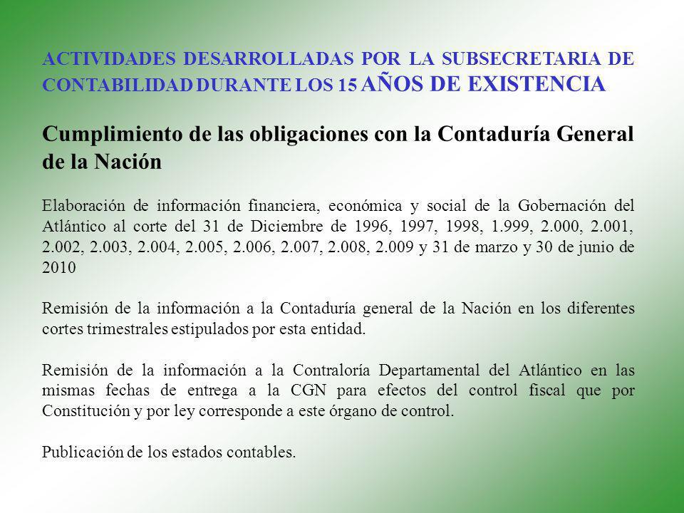ACTIVIDADES DESARROLLADAS POR LA SUBSECRETARIA DE CONTABILIDAD DURANTE LOS 15 AÑOS DE EXISTENCIA