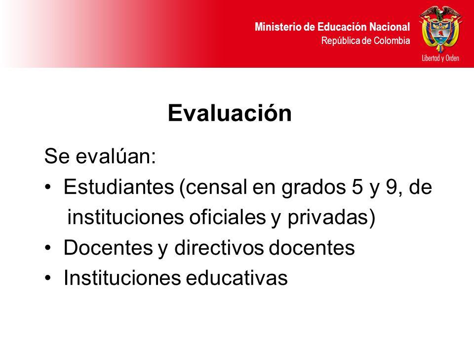 Evaluación Se evalúan: Estudiantes (censal en grados 5 y 9, de