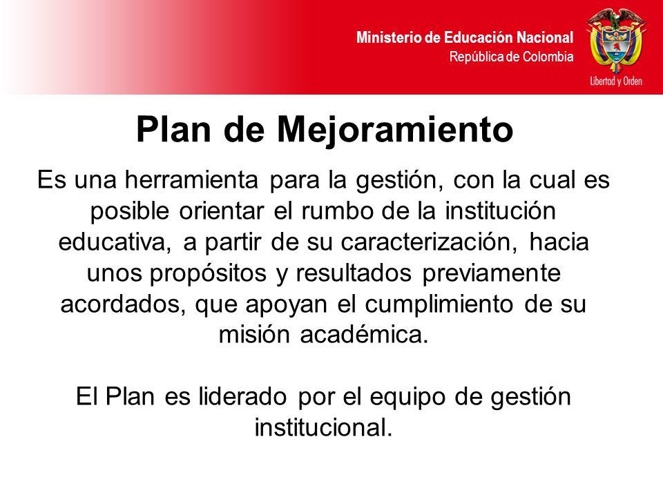 El Plan es liderado por el equipo de gestión institucional.