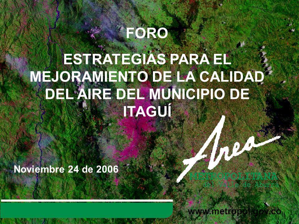 FORO ESTRATEGIAS PARA EL MEJORAMIENTO DE LA CALIDAD DEL AIRE DEL MUNICIPIO DE ITAGUÍ. Noviembre 24 de 2006.