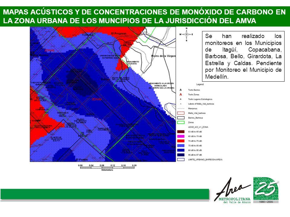 MAPAS ACÚSTICOS Y DE CONCENTRACIONES DE MONÓXIDO DE CARBONO EN LA ZONA URBANA DE LOS MUNCIPIOS DE LA JURISDICCIÓN DEL AMVA