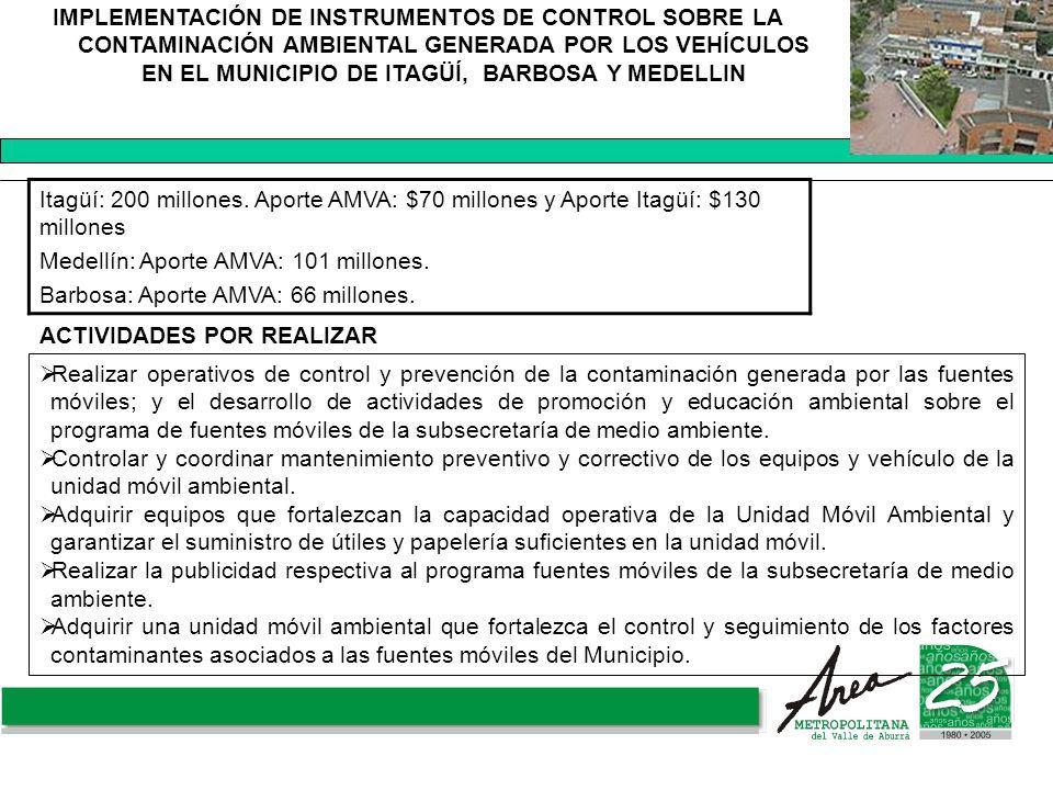 IMPLEMENTACIÓN DE INSTRUMENTOS DE CONTROL SOBRE LA CONTAMINACIÓN AMBIENTAL GENERADA POR LOS VEHÍCULOS EN EL MUNICIPIO DE ITAGÜÍ, BARBOSA Y MEDELLIN