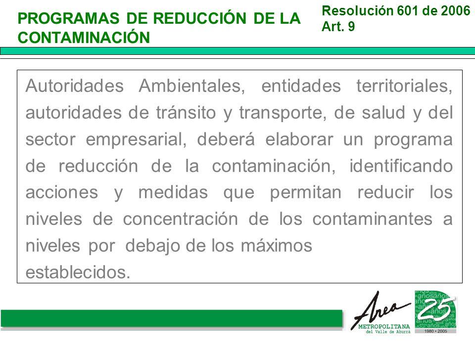 Resolución 601 de 2006 Art. 9. PROGRAMAS DE REDUCCIÓN DE LA CONTAMINACIÓN.