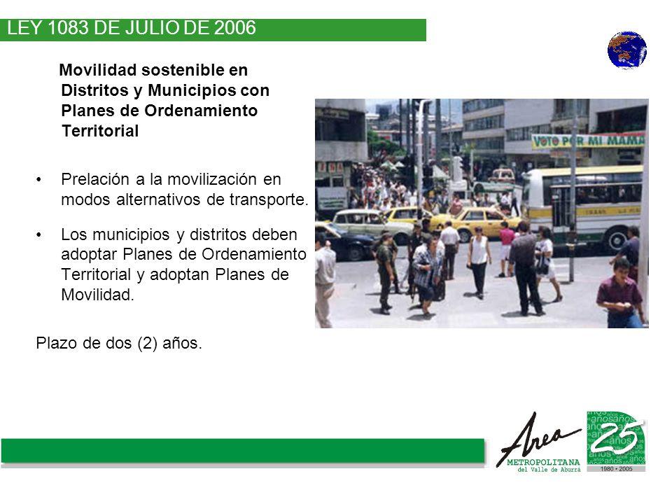 LEY 1083 DE JULIO DE 2006 Movilidad sostenible en Distritos y Municipios con Planes de Ordenamiento Territorial.