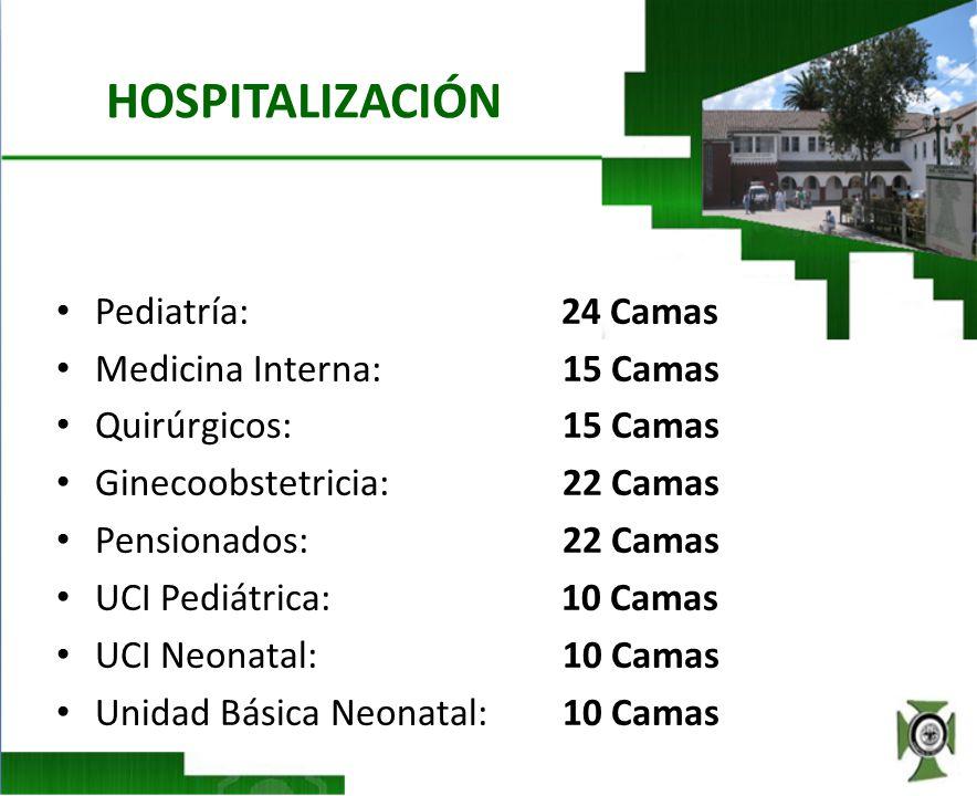HOSPITALIZACIÓN Pediatría: 24 Camas Medicina Interna: 15 Camas