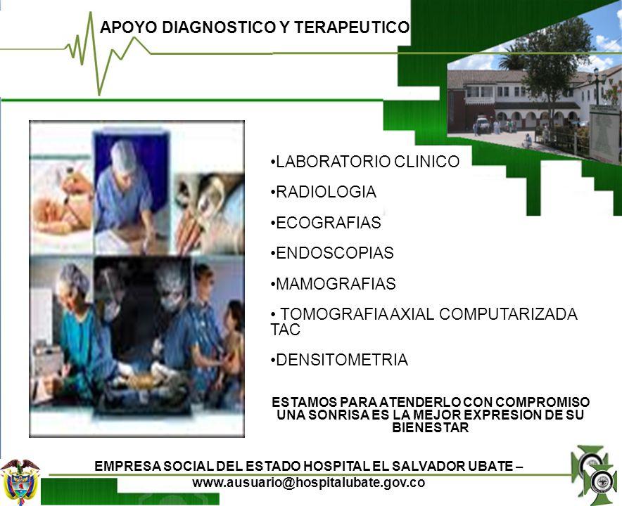 APOYO DIAGNOSTICO Y TERAPEUTICO