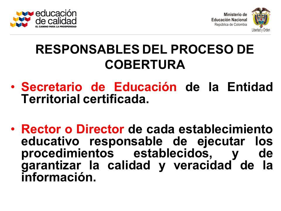 RESPONSABLES DEL PROCESO DE COBERTURA
