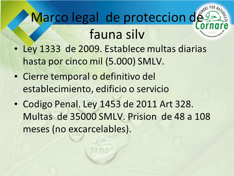 Marco legal de proteccion de fauna silv