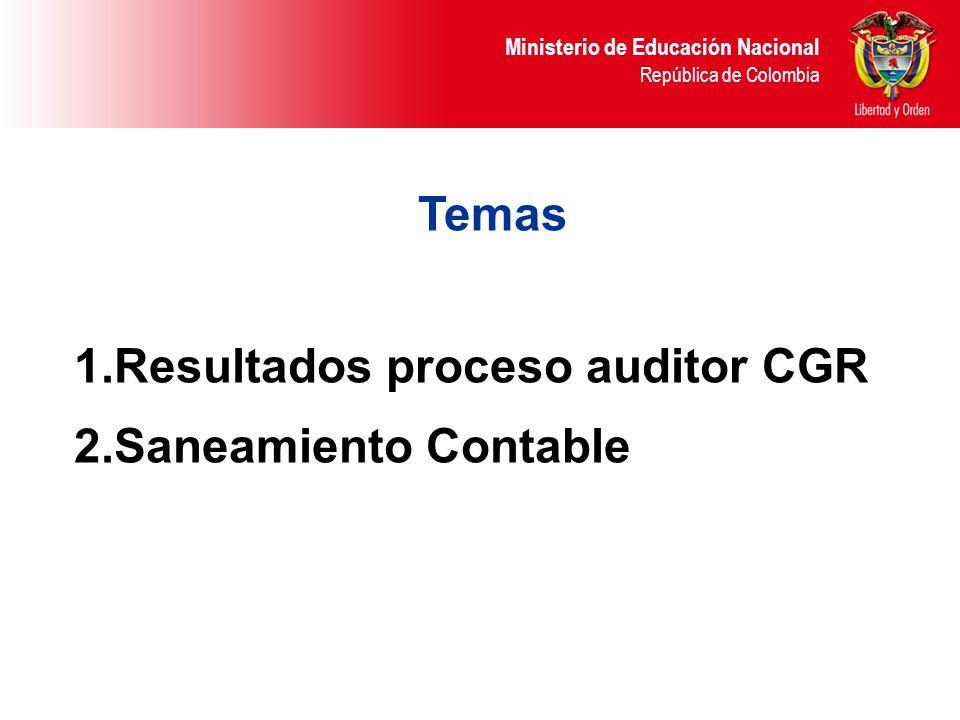 Temas Resultados proceso auditor CGR Saneamiento Contable