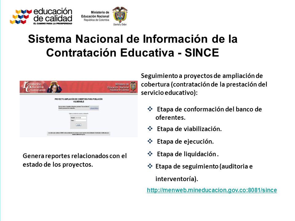 Sistema Nacional de Información de la Contratación Educativa - SINCE