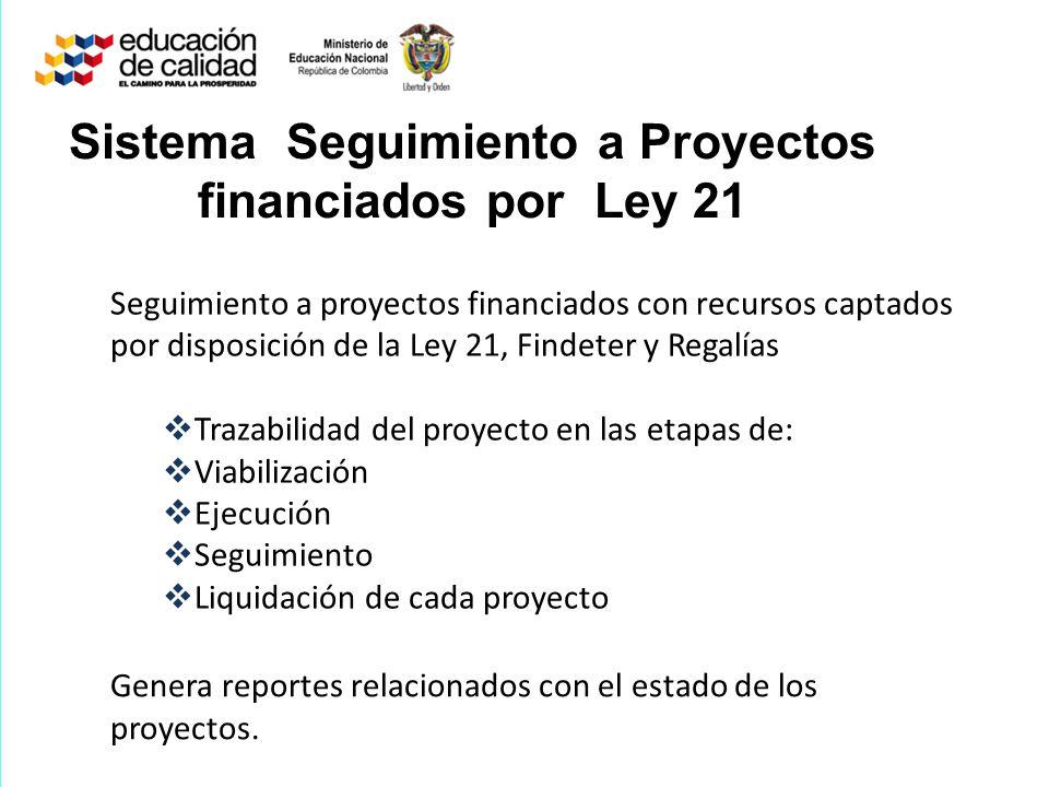 Sistema Seguimiento a Proyectos financiados por Ley 21