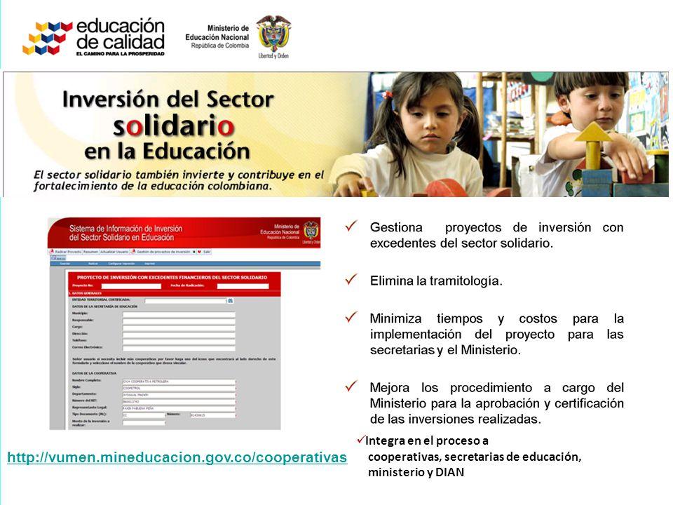 http://vumen.mineducacion.gov.co/cooperativas Integra en el proceso a