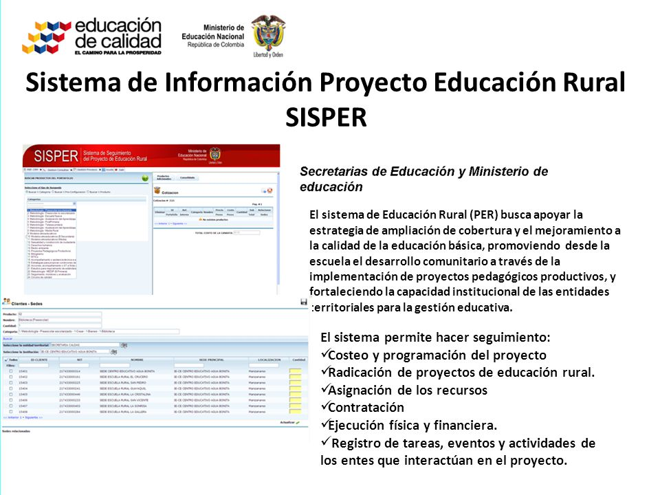 Sistema de Información Proyecto Educación Rural SISPER