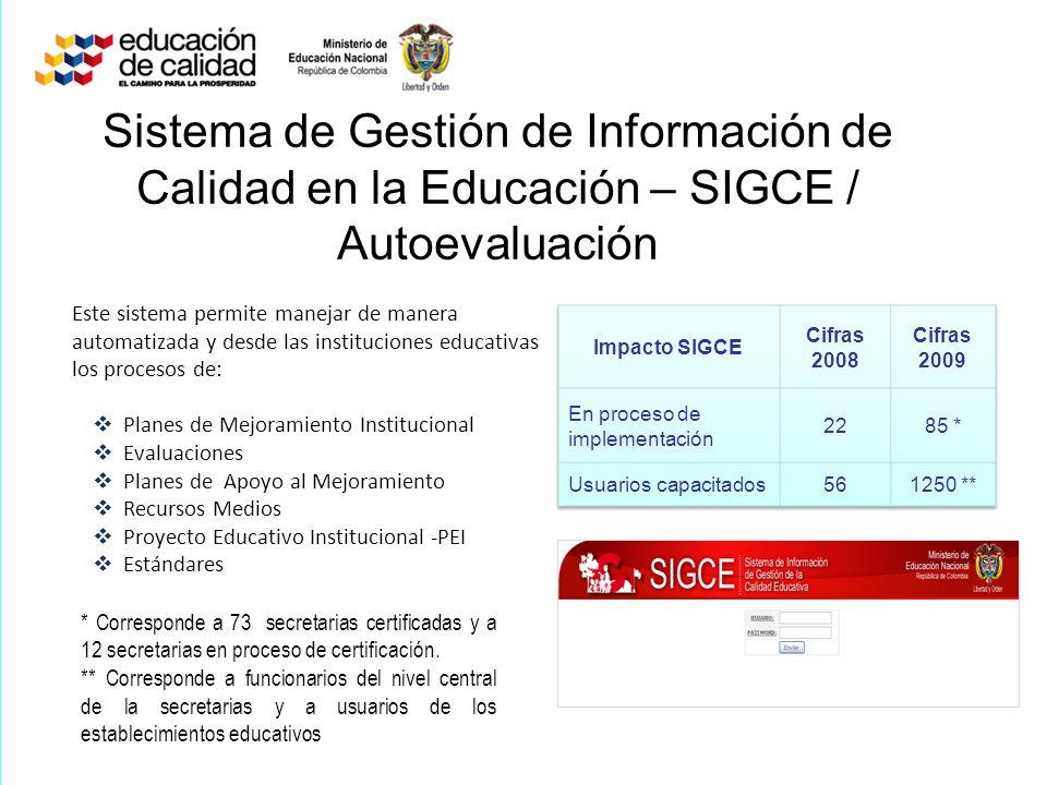 Sistema de Gestión de Información de Calidad en la Educación – SIGCE / Autoevaluación