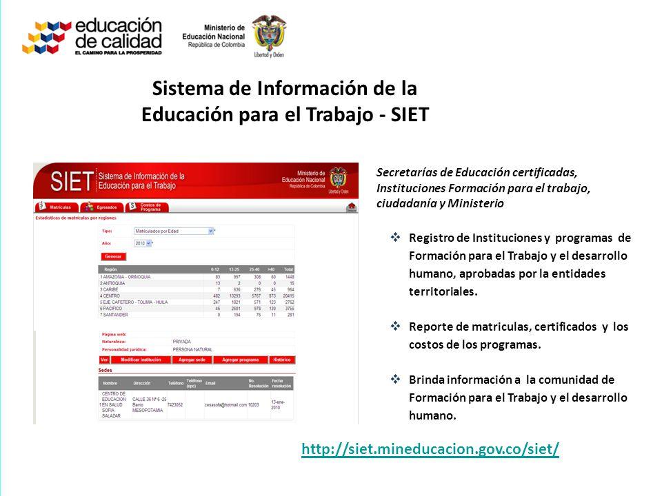 Sistema de Información de la Educación para el Trabajo - SIET