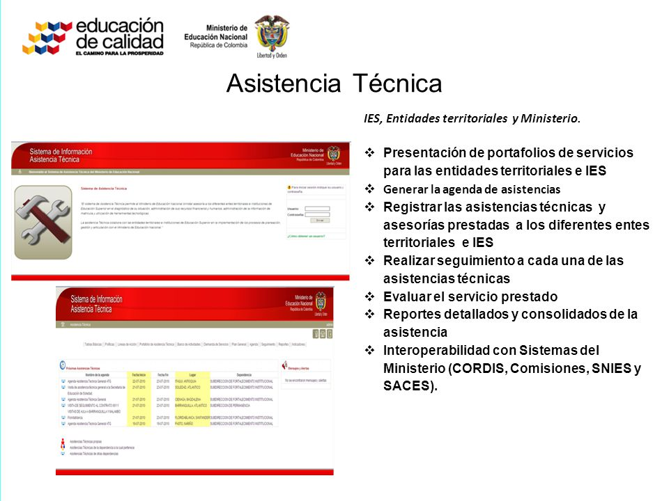 Asistencia Técnica IES, Entidades territoriales y Ministerio.