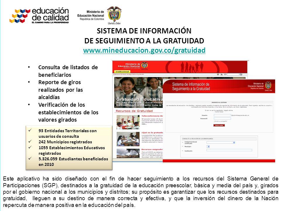 SISTEMA DE INFORMACIÓN DE SEGUIMIENTO A LA GRATUIDAD