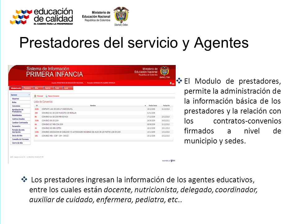 Prestadores del servicio y Agentes