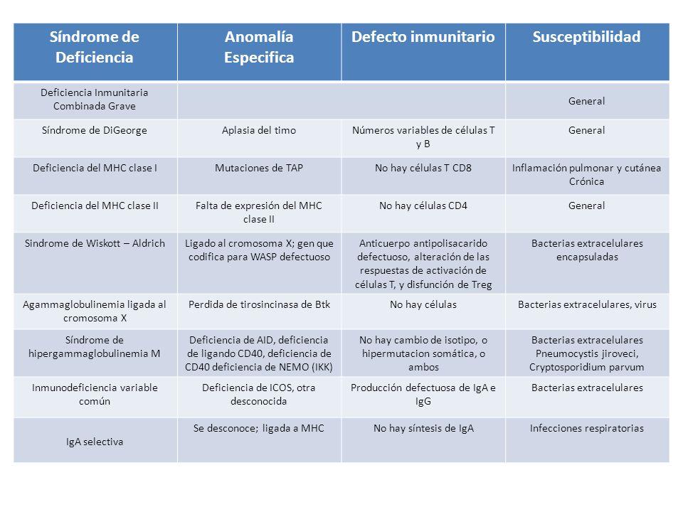 Síndrome de Deficiencia Anomalía Especifica Defecto inmunitario