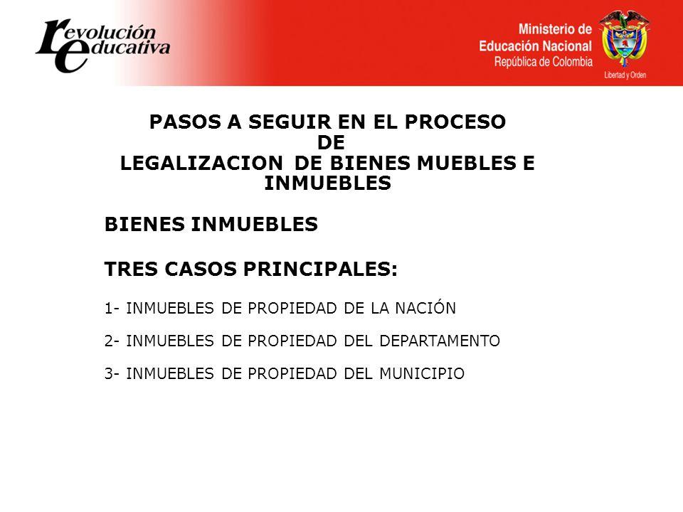 PASOS A SEGUIR EN EL PROCESO LEGALIZACION DE BIENES MUEBLES E