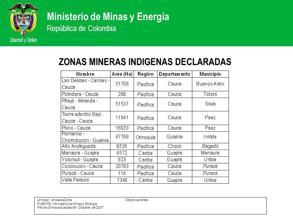 ZONAS MINERAS INDIGENAS DECLARADAS