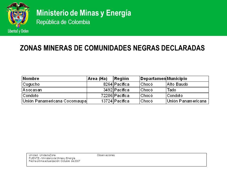 ZONAS MINERAS DE COMUNIDADES NEGRAS DECLARADAS