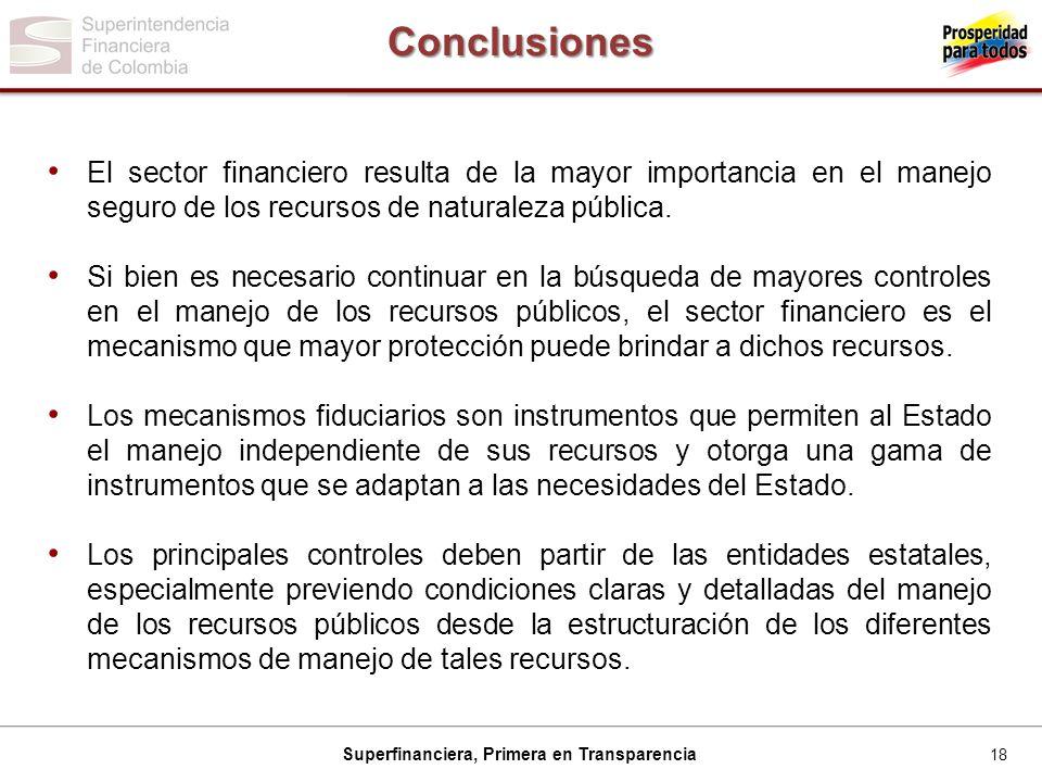 Conclusiones El sector financiero resulta de la mayor importancia en el manejo seguro de los recursos de naturaleza pública.