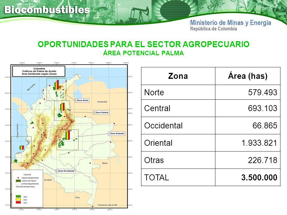 OPORTUNIDADES PARA EL SECTOR AGROPECUARIO ÁREA POTENCIAL PALMA