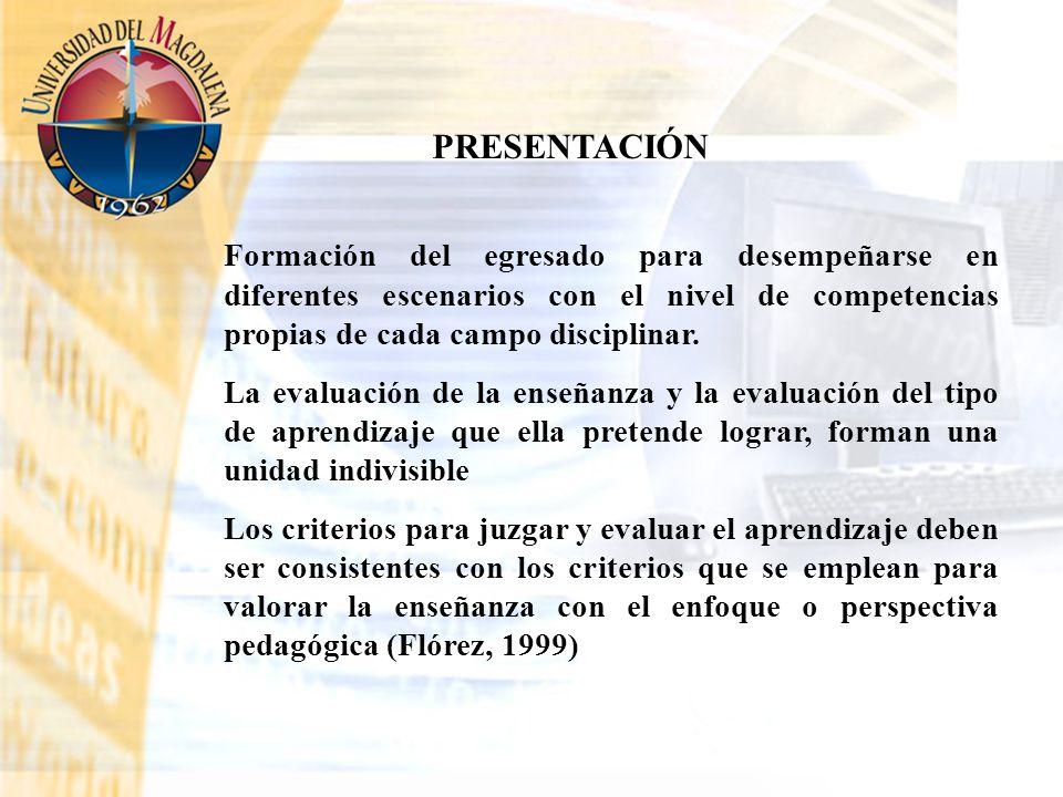 PRESENTACIÓN Formación del egresado para desempeñarse en diferentes escenarios con el nivel de competencias propias de cada campo disciplinar.